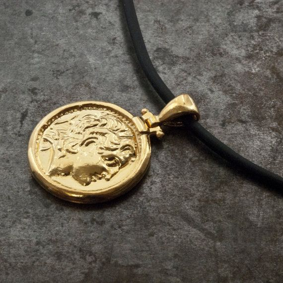 Gold Greek Ancient Coin Necklace Men Coin Pendant by GreekMythos
