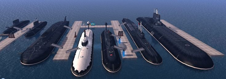 https://flic.kr/p/dtm4GV | Claremont Estates Subs Exhibition | Ships Exposition at Claremont Estates on Second life.  Here my stand where im exhibiting some russian submarines at Claremont Estates (dolphin home sim).  from left to right:   -2x Project 877 - Kilo class - Project 949A - Oscar II class (Kursk) -2x Project 971 - Akula class - Project 955 - Borei class - Project 941 - Typhoon class  The Exposition is exhibiting ships and submarines for 1 month, from the 1st to 30th November 2012.