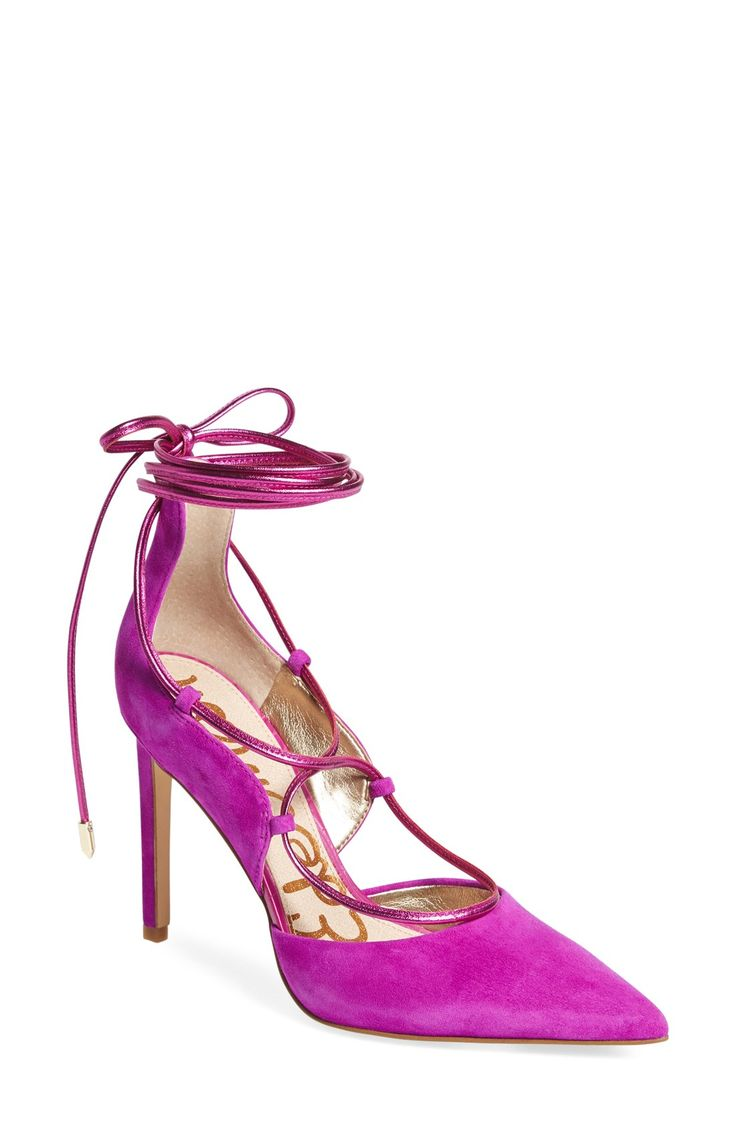 How fabulous is this tie-up pump from Sam Edelman? The vibrant color and pointy toe make it so fun.