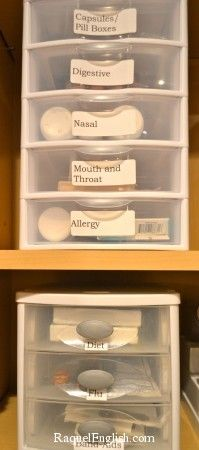 BETTER ALTERNATIVE for the MEDICINE CABINET: Having these little plastic drawers are really space efficient. They work so well with keeping things together, especially when others go digging in them to try and find something. If they were just sitting on a shelf, everything would fall all over the place.
