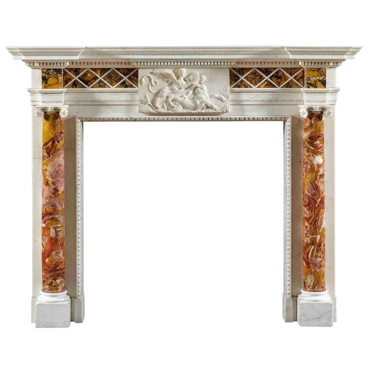 Antique George III Fireplace Mantle in Sienna, Jasper and Statuary Marble   From a unique collection of antique and modern fireplaces and mantels at https://www.1stdibs.com/furniture/building-garden/fireplaces-mantels/