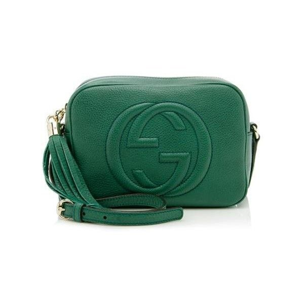 Rental Gucci Soho Leather Disco Bag (3 275 UAH) ❤ liked on Polyvore featuring bags, handbags, shoulder bags, green, gucci purses, leather handbags, crossbody purse, green leather handbag and over the shoulder bag