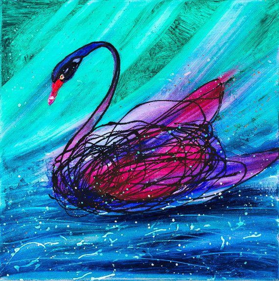 Black Swan Animal Bird 12 Original painting Small by CalinaLefter