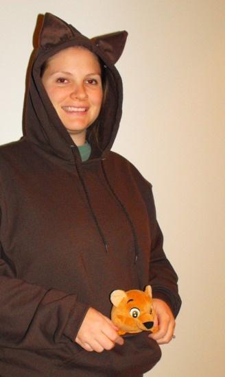 kangaroo Halloween costume- brown sweats + ears. don't forget face paint!