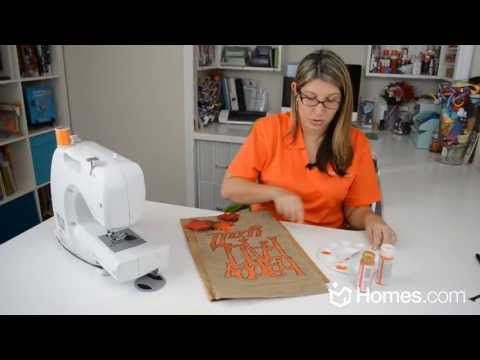 ▶ Homes.com DIY Experts: How-to Make a Fall Garden Flag - YouTube Show's a fall design but could do it really for any season.  Uses burlap.