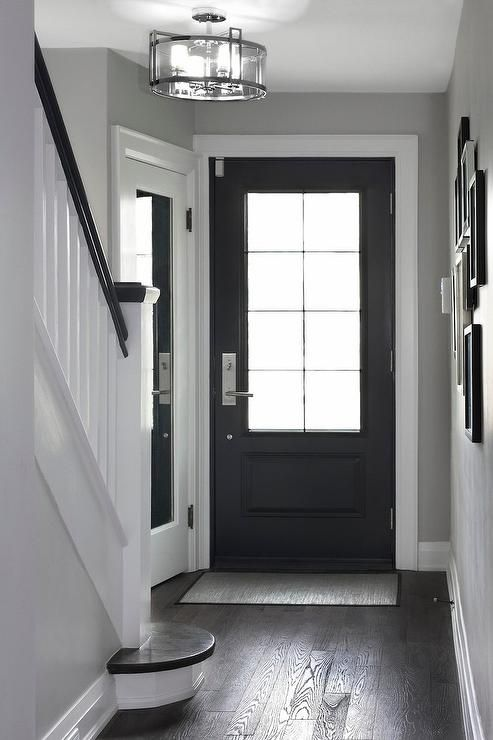 A black front door with 8 glass panes opens to a chic foyer filled with a corner coat closet accented with a full length mirror illuminated by a glass semi flushmount light.