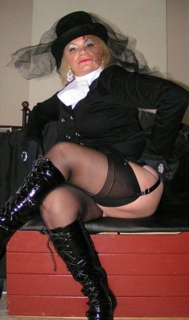 Mistress autumn in thigh high black boots dominates male 8