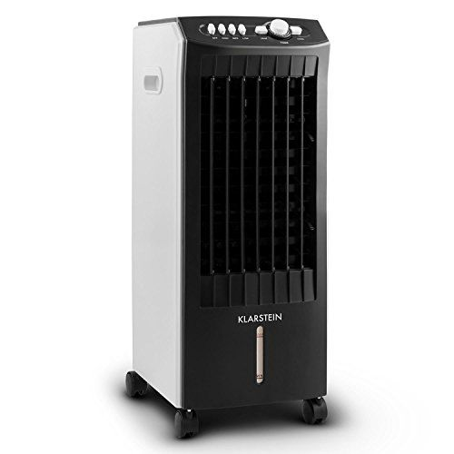 Klarstein MCH-1 V2 mobile-Klimaanlage 3 in1 Luftk�hler Klimager�t mit Ventilator- Luftbefeuchter- und Luftreiniger-Funktion (extrem niedriger 65W Energieverbrauch, 3 Leistungsstufen, mit Timer, ohne Abluftschlauch) schwarz-wei�