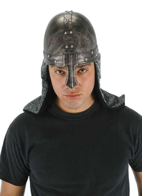 Dark Knight Helmet Hat - Ride your horse into battle and save the princess with this Knight Helmet hat!   This wonderful Knight helmet is a distressed bronze colour which is made of faux leather. It has silver studs along the each of the bands. The front nose piece attaches by two snaps. Attached is silver shiny fabric to give the appearance of the chainmail they would wear. The inside is a fabric lining. It has a velcro size adjust. #helmet #knight #yyc #costume