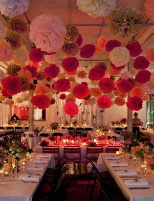 pompom chocolat fushia rose rouge mariage - Salle Mariage Oriental Ile De France