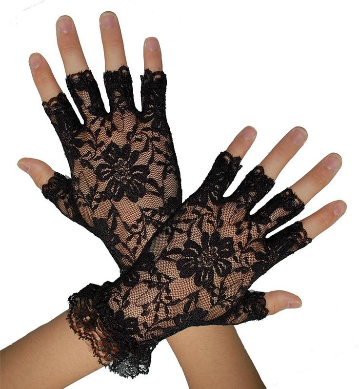 Ladies Gloves Fingerless 1980 80s Womens Lace Party Wedding Costume Accessory