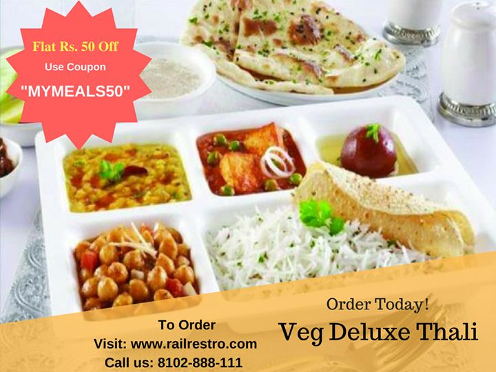 #ThursdayTiffin: Order Veg Thali while traveling in train with Railrestro. Avail Flat Rs. 50 Off. Special Offers for Group orders. Checkout today at Railrestro.com or call us at 8102-888-111.