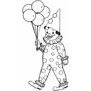 clown kid with balloons coloring page