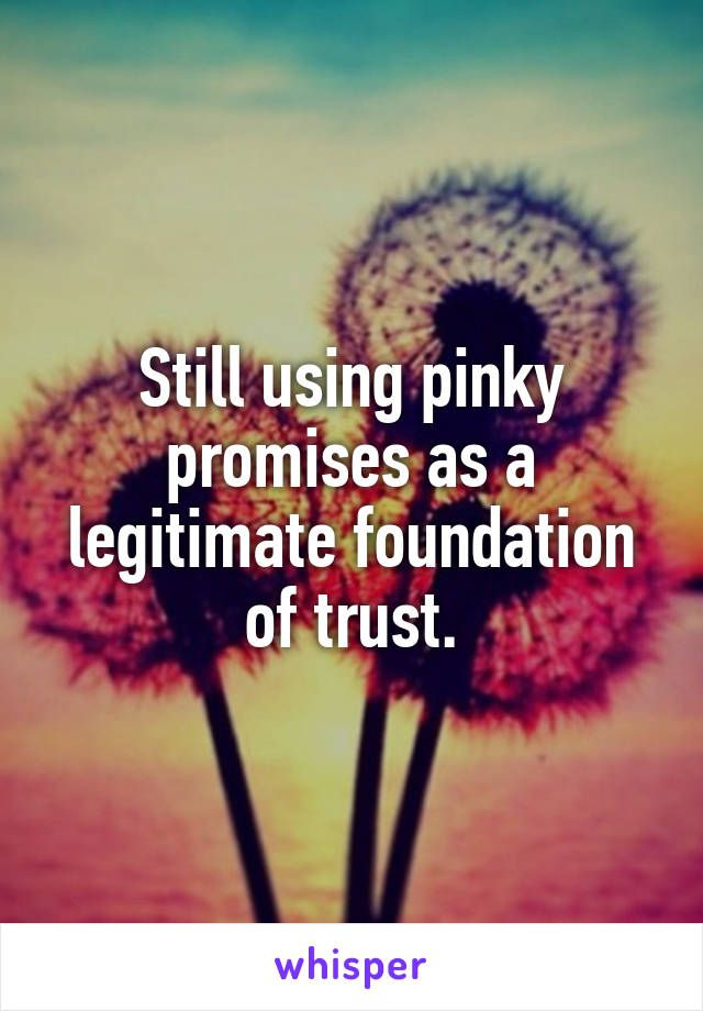 Still using pinky promises as a legitimate foundation of trust.