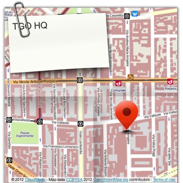 TGO HQ Via Andrea Maria Ampère, 61, 20131 Milano, Italia
