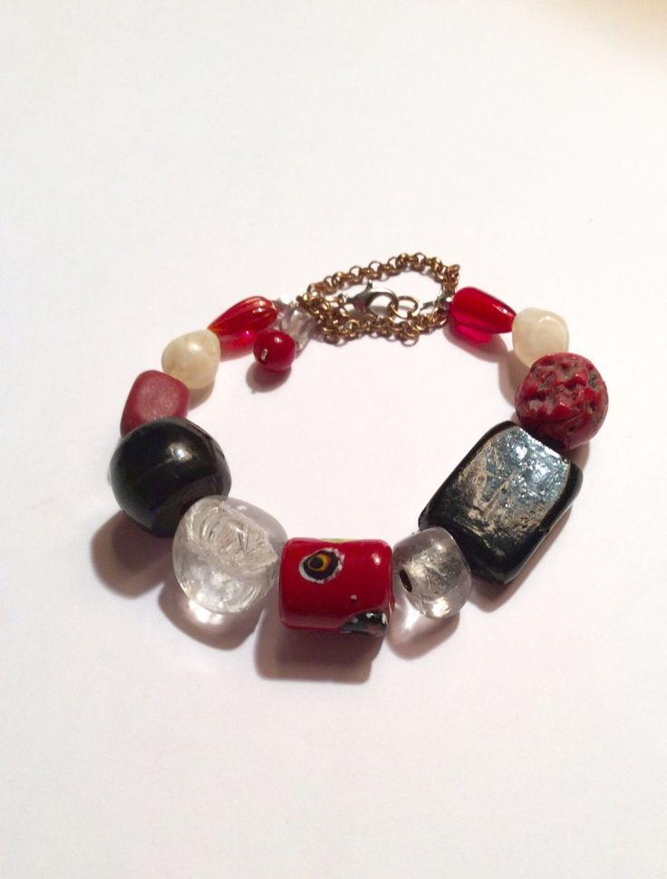 Recycled Imperfect Glass Bead Funky Eclectic Retro Glass Braclet Lobster Claw Stretch Adjustable Painted Red Black Crystal Girlfriend Gift by AliceAndBettyDesigns on Etsy