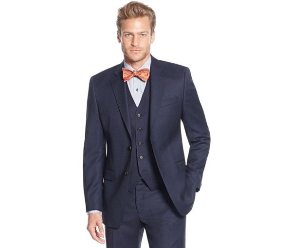 Lauren Ralph Lauren Slim-Fit Blue Birdseye Vested Big and Tall Suit - Big & Tall - Men - Macy's