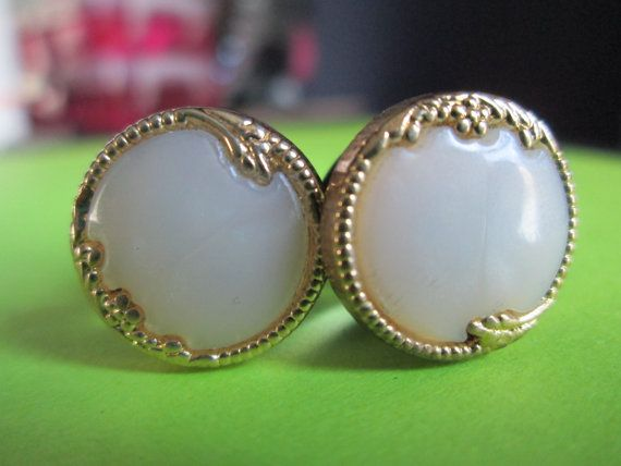 Beautiful and Classy - Vintage Gold and Ivory Pearl Fancy Button Plugs - Available in Regular Studs, 0g, 00g, and 1/2 in. on Etsy, $18.50