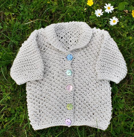Summer Baby Knitting Patterns : This cardigan is knit in bee stitch, which makes it really light and just rig...