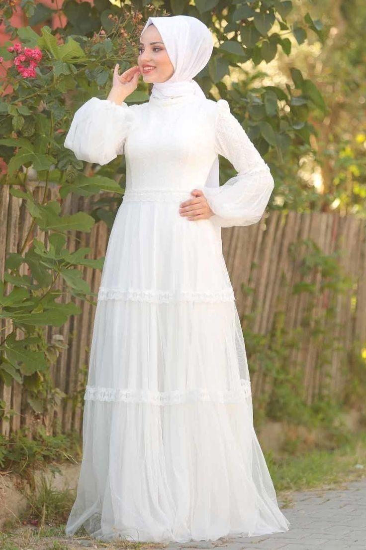 Tesetturlu Abiye Elbise Tesetturlu Abiye Elbise Balon Kol Beyaz Tesett 2020 Elbise Giyim The Dress