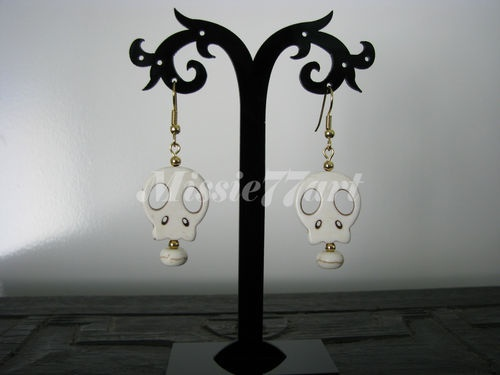 White Screaming Skulls Voodoo Earrings with Surgical Steel Ear wires $9.95