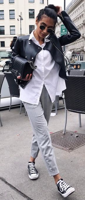 casual office style obsession_moto jacket + shirt + grey pants + bag + converse