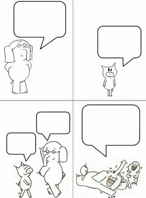 "Elephant and Piggie Comic {This is a great template for practicing inferring.} Idea from ""Grade ONEderful"" blog."