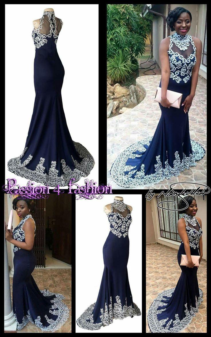 Navy blue and silver choker neckline mermaid matric dance dress. Bodice, neckline & train detailed in silver lace. #mariselaveludo #fashion #matricdance #matricdress #passion4fashion #lace #navyblueandsilvermatricdress #softmermaid #promdress
