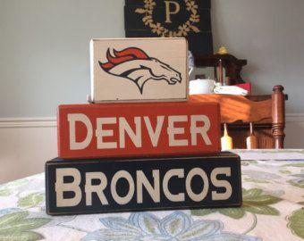Denver Broncos Football team blocks team spirit man cave decoration custom distressed wood blocks distressed shelf sitter blocks NFL Dad