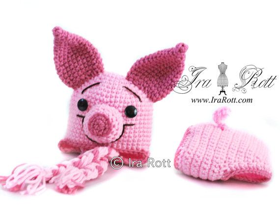 Handmade Crochet Pinky the Piglet Hat and Diaper Cover Set for Babies    www.irarott.com
