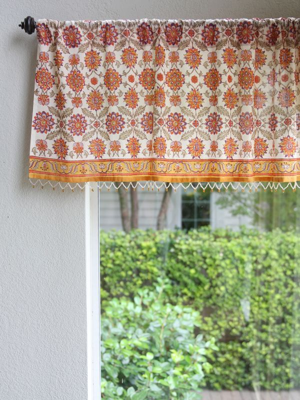 Persian Mediterranean Floral Print VALANCE: Your daydreams tell you that you're vacationing above the Mediterranean, with the sweet smell of orange blossoms wafting into your open window. But open your eyes, and you'll see the vibrant, vintage color that is bursting from our Orange Blossom valance. Exotic and eclectic, this simple piece is a perfect match for global, bohemian decor.