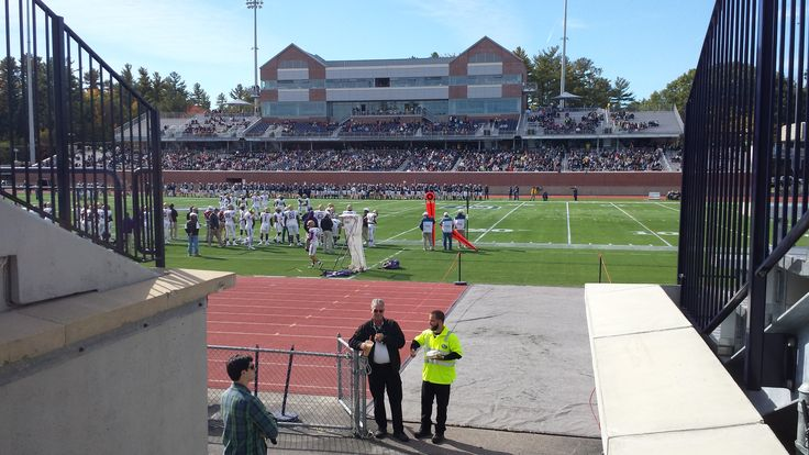 The University of New Hampshire,a perennial Div 1AA football power is playing in a newly reconstructed and expanded new stadium.On this day The Dukes of James Madison U ,however, prevailed in a hard fought and close game.