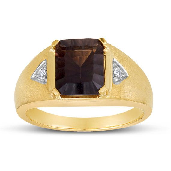 Anillo cuarzo ahumado oro anillo de piedras preciosas de