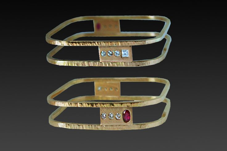 square yellow gold reversible ruby and diamond bangle