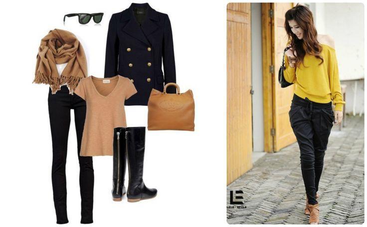 Черные брюки, горчичный пуловер, шарф, оранжевая сумка, коричневые очки, коричневые ботильоны