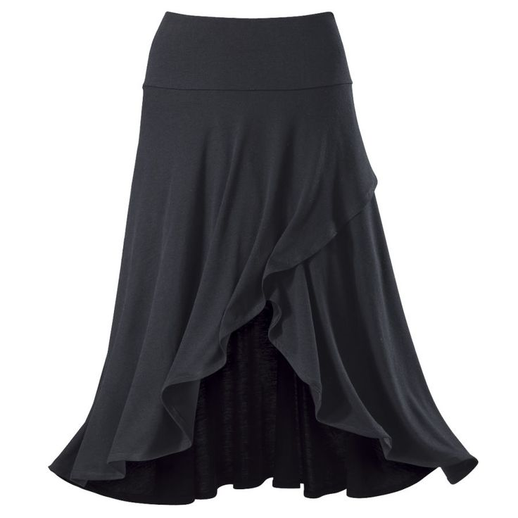 Wrap Front Skirt  Exclusive! Wrap lt Up. Jersey-knit style and comfort! This skirt's wide waistband falls to asymmetric, crosswrapped layers in front, creating an eye-catching, high/low effect to show a peek of leg. ~ The Pyramid Collection ~ #plus size ~ wtb