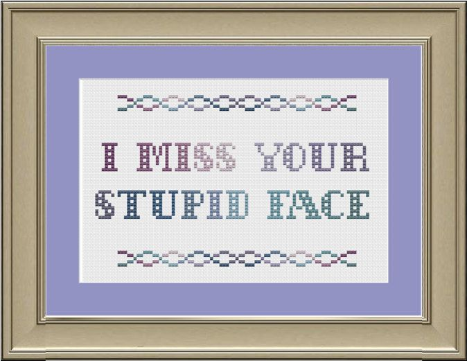 I miss your stupid face funny crossstitch by nerdylittlestitcher