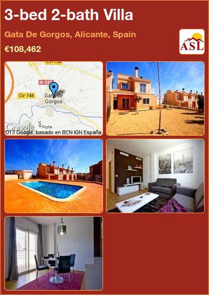 3-bed 2-bath Villa in Gata De Gorgos, Alicante, Spain ►€108,462 #PropertyForSaleInSpain