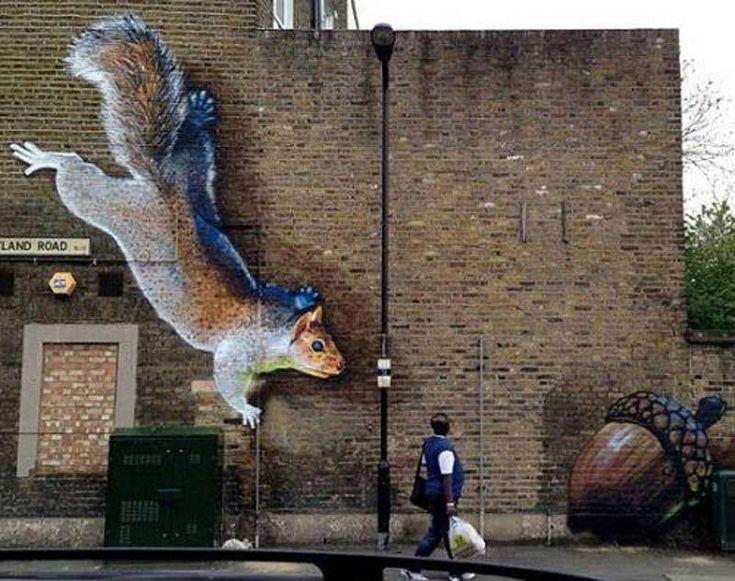 #3d #art #trompeloeil #squirl #eekhoorn #kunst   repinned by www.drukwerkdeal.nl