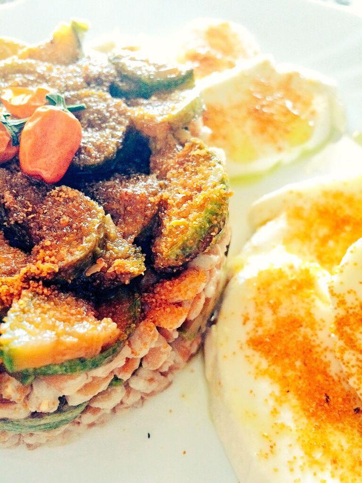 Pearl barley with tabasco orange zucchini, mozzarella and sardinian bottarga - Farro perlato con zucchine al Tabasco orange, mozzarella e bottarga di Cabras