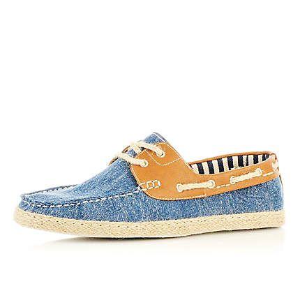 blue denim boat espadrilles - boat shoes - shoes / boots - men ...