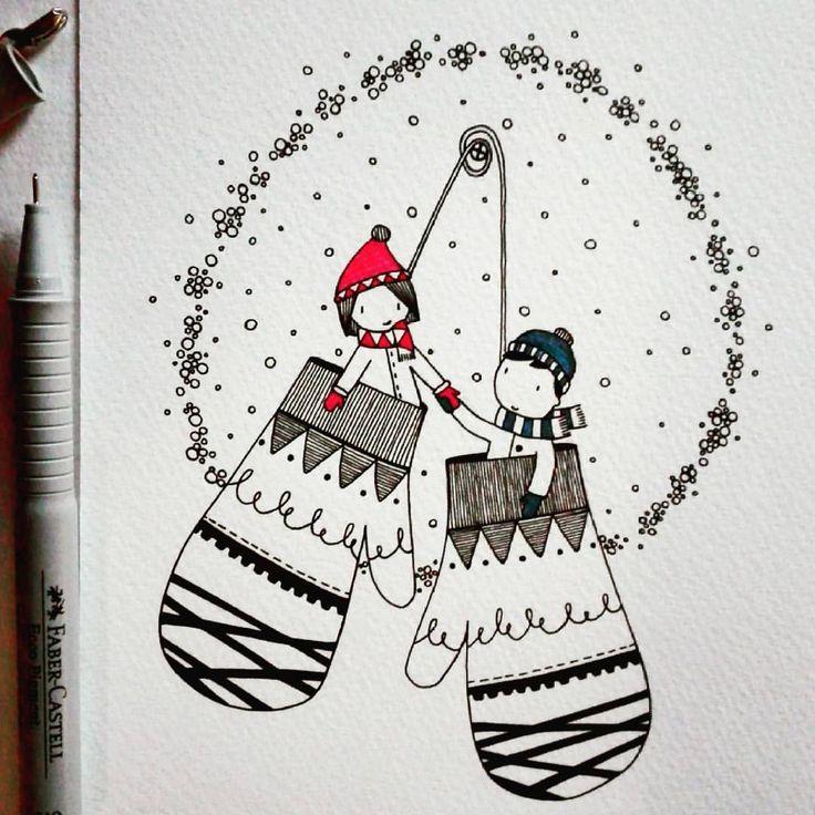 224 vind-ik-leuks, 5 reacties - laura guerra  (@drawing.fish) op Instagram: 'Winter gloves! ❄❄❄ · · · #illustration #illustrazione #instaillustration #art #arte #instaart…'
