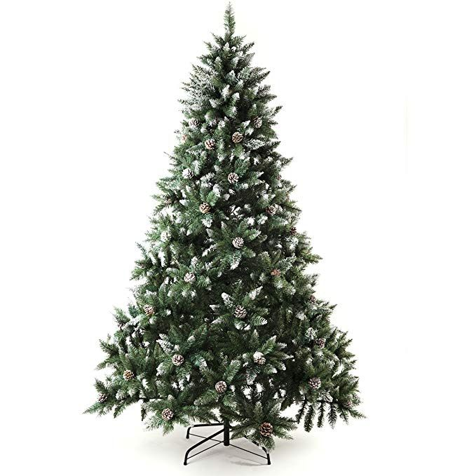 Senjie Artificial Christmas Tree 6 7 7 5 Foot Flocked Snow Trees Pine Cone Decoration Unlit 7 Foot U Pine Cone Decorations Christmas Tree Cone Christmas Trees