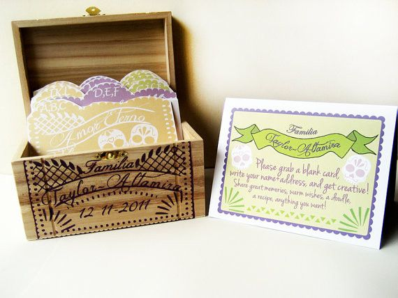 Fiesta Wedding Guest Book Box, Custom day of the dead papel picado, hand painted