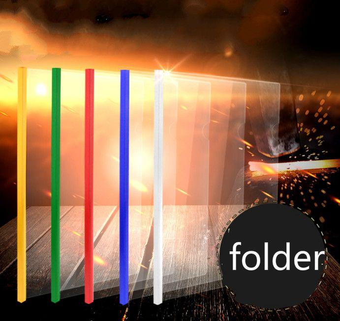 10pcs/lot A4 office presentation slide clip folder 14C multi-color plastic folder report cover spine bar school document file