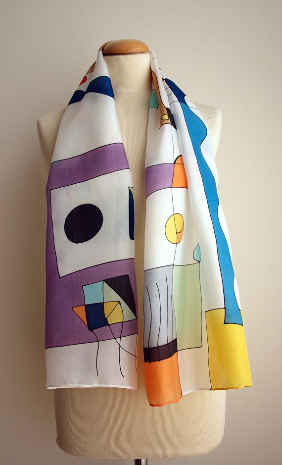 Hand Painted Scarf.Hand Painted Silk.Miro style. Ideas for her.Ooak scarf