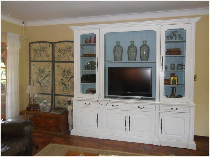 Stunning TV cabinet with blue accents