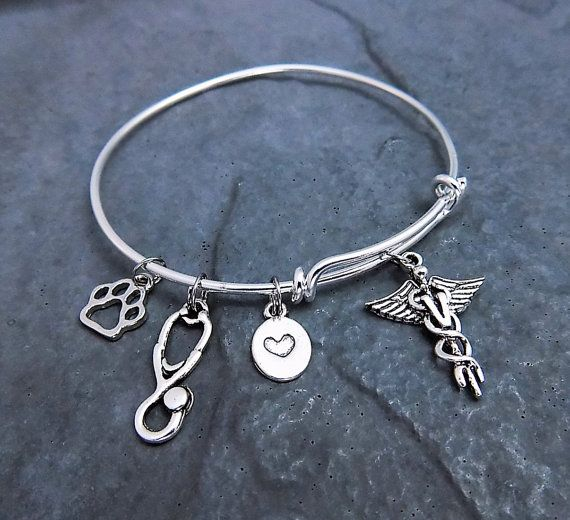 Vet Tech Gift - Charm Bracelet - Expandable Bangle - Veterinary Technician Bracelet - Vet Tech Jewelry - Gift for Her - YOU CHOOSE STYLE