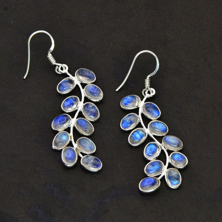 925 Sterling Silver Natural Moonstone Long Ladies Earring valentine Sale classic #Handmade