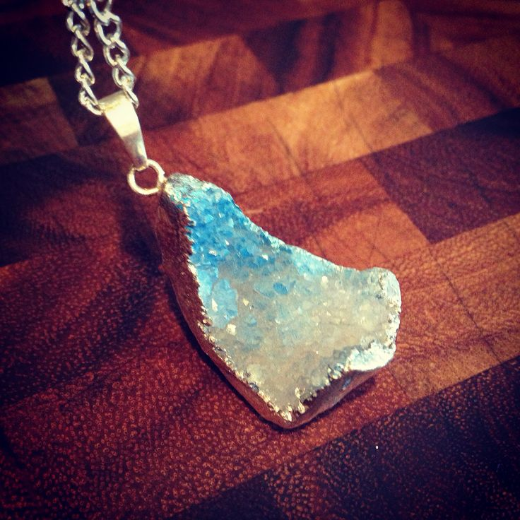 Sparkling turquoise ombré Druze with silver trim layering bohemian necklace